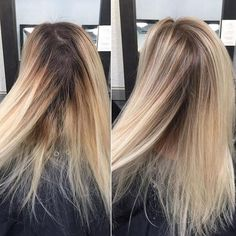Babylights & foilagye mixed with Root shadow & gloss . Bleach Blonde Hair With Roots, Grown Out Blonde Hair, Blonde Roots, Brunette To Blonde, Babylights Blonde, Balayage Hair, Growing Out Platinum Hair, Lob, Shadow Root Blonde