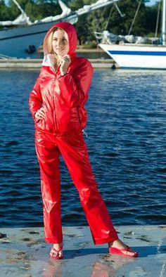 Tracksuit at the waterfront Nylons, Yellow Raincoat, Hooded Dress, Puffy Jacket, Rain Wear, Overall, Windbreaker Jacket, Sportswear, Street Wear