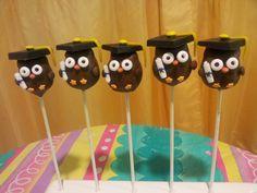 """Wise"" owl graduation cake pops"