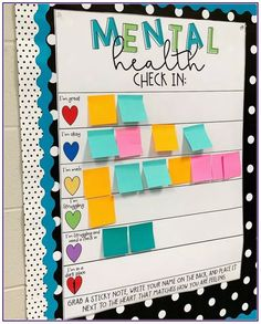 Erin Castillo, an educator at John F. Kennedy High School in Freemont, California, created a mental health check-in chart for her students. education Clever teacher's mental health check-in chart inspires educators to create their own Middle School Classroom, Classroom Design, Future Classroom, Classroom Ideas, Bulletin Board Ideas For Teachers, Classroom Decoration Ideas, Kindergarten Classroom Decor, Classroom Bulletin Boards, Classroom Decorations Middle School