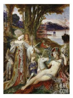 (Musée Gustave Moreau, Paris, France) This painting by the French Symbolist painter Gustave Moreau was inspired by famous series of six. Templer, Art Et Illustration, Vintage Illustrations, Oil Painting Reproductions, Old Paintings, Medieval Art, Poster Prints, Art Prints, Art History
