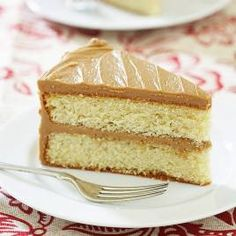 "Easy Caramel Cake. The frosting sounds good: ""Caramel frosting is delicious-rich and toffee-flavored, this unique frosting starts out creamy but quickly firms up to a fudgelike consistency. It is also notoriously tricky. Our goal was an easier, foolproof caramel icing that would bring this cake back into every baker's repertoire."""