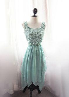 Mermaid Tears Seafoam Blue Medieval Mint Green Dress Minty Marie Antoinette Alice in Wonderland Bohemian Ethereal Jane Austen Dress Gown