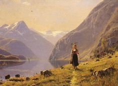"""By the fjord"" by Norwegian painter Hans Dahl (1849-1937). Hordaland"