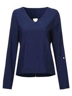 Sale 15% (19.29$) - Casual Women Back Zipper Long Sleeve V-Neck T-shirts