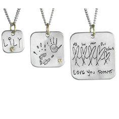 Personalized Argentium Silver Square Tag Pendants, Cassandra Erin , $194 via boutiika.com