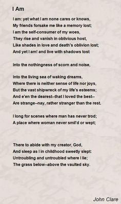 I Am John Clare - A Poem recited during an episode of Penny Dreadful