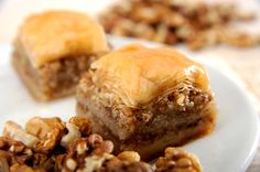 Walnut Baklava: Butter cake with walnuts and a touch of cinnamon, honeyed lemon frosting and a topping of candied walnuts. Sounds good to me.