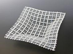 Soft White Crisscross Patterned Square Glass Basket: Ed Edwards: Art Glass Bowl - Artful Home