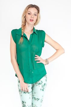 Effortless Green Chiffon Top