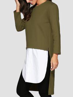 High Low Spliced Longline Sweatshirt