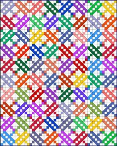 Jacob's Ladder quilt pattern with many fabrics