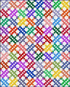 Padrão de colcha de Escada de Jacob com muitos tecidos
