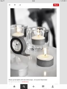 The easiest washi DIY ever! Wilshusen get white votive candles and put washi tape around it! Washi Tape Diy, Masking Tape, Duct Tape, Washi Tapes, Craft Projects, Projects To Try, Craft Ideas, Decor Ideas, Do It Yourself Inspiration