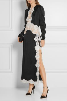Black satin, ivory lace Concealed hook and zip fastening at back…