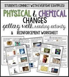 identifying physical and chemical changes lesson gallery walk reading activity and reinforcement worksheet - Periodic Table Reading Activity