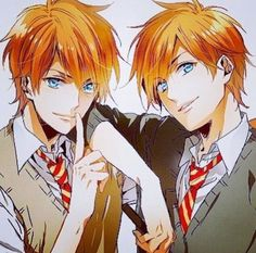 Not sure if they're the Weasly Twins or the Hitachiin Twins. Probably a mix. xD<----- it's the Weasley twins. The Hitachiin twins have amber eyes, the Weasley twins have blue eyes. Harry Potter Fan Art, Mundo Harry Potter, Harry Potter Drawings, Harry Potter Universal, Harry Potter Fandom, Harry Potter Memes, James Potter, Anime Manga, Anime Art