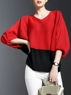Color-block Ribbed Short Sleeved #Top Blouse Patterns, Blouse Designs, Classic Outfits, Casual Outfits, Balenciaga Shirt, Dress For Success, Pants Outfit, Editorial Fashion, Leggings Are Not Pants
