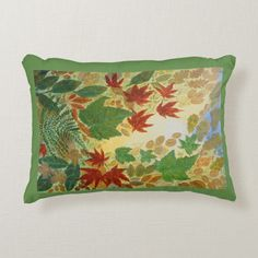Shop Fall Leaves Accent Pillow created by artistjandavies. Orange Throw Pillows, Fall Pillows, Modern Throw Pillows, Soft Pillows, Accent Pillows, Modern Fall Decor, Customizable Gifts, Leaf Art, Green Backgrounds