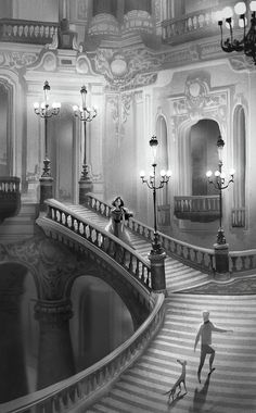 PHANTOM OF THE OPERA #8 INTERIOR sketches Test value and sketches. I tried to figure out how I am going to 'control' the massive amount of design elements of the time period. I needed some restrictions on myself so that I wouldn't go over the top...