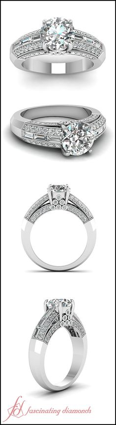 Assorted Sparkle Ring    Round Cut Diamond Milgrain Rings With White Diamonds In 14k White Gold (FD65621ROR)