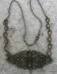 Antique Bronze Filigree 25in Necklace                                   CC-50017