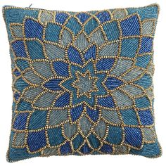 Teal Beaded Dahlia Pillow | Pier 1 Imports