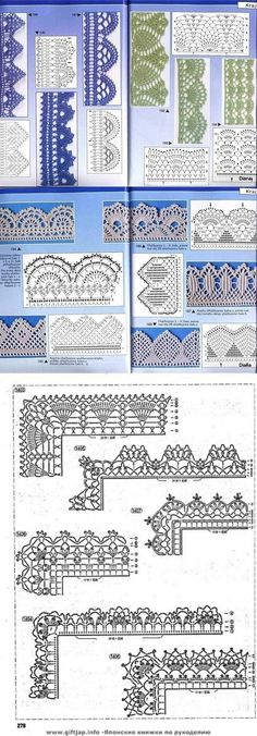 Many Free crochet edging diagram, chart patterns.