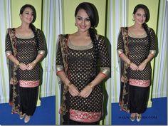 Sonakshi in black salwar kameez