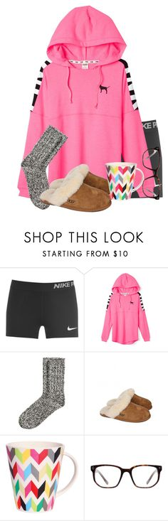 """""""Good Morning!✨"""" by kaley-ii ❤ liked on Polyvore featuring NIKE, Victoria's Secret PINK, H&M, UGG Australia, French Bull and Derek Cardigan"""