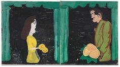 Rose Wylie, 'Plastic Bride and Bridegroom,' Galerie Michael Janssen Figure Painting, Painting & Drawing, Rose Wylie, Collage Illustration, Illustrations, Artwork Images, Artist Art, Love Art, Oil On Canvas