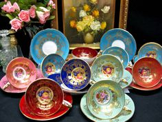 Aynsley...A beautiful variey of cups and saucers.