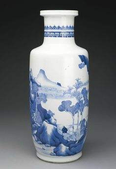 A blue and white 'Landscape' rouleau vase, Qing Dynasty, Kangxi Period - Alain.R.Truong