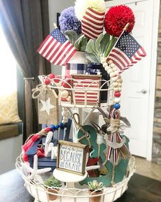 """🏠Londage@home⚒ on Instagram: """"Three left of the re-listed anchor garlands! I tried to mix beach or surf with 4th of July with this tray 🤷🏼♀️- I give it ⭐️⭐️⭐️ out of 5.…"""" Tier Tray, Tray Decor, Garlands, Seasonal Decor, 4th Of July Wreath, Trays, Farmer, Farmhouse Style, Anchor"""
