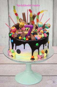 Rainbow candy drip cake