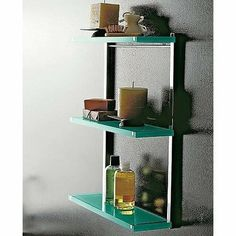 Bathroom Storage Shelf Unit Finish: Green, Shelves: Two by Toscanaluce by Nameeks. $385.99. 4542/VR Finish: Green, Shelves: Two Features: -Shelf.-Wall-mounted three-level shelf unit. Made out of plexiglass and chromed brass. Options: -Available in Multiple Colors. Dimensions: -Overall dimensions: 20.08'' H x 4.96'' W x 15.75'' D.