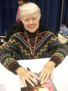 "Barbara Walker, knitting goddess. Apparently wearing a pattern in the ""mosaic"" technique that she pretty much invented."