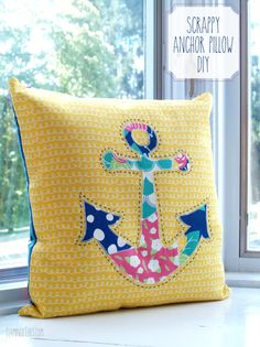 Scrappy Anchor Pillow DIY in Gleeful by Sew Caroline for AGF Limited Edition
