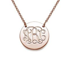 Rose Gold Plated Monogram Disc Necklace - Custom Made with Any Initial! (18 Inches) Custom Personalized Jewelry http://www.amazon.com/dp/B00NSMOHWE/ref=cm_sw_r_pi_dp_vigcwb18DA416