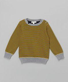 Look at this #zulilyfind! Mustard Stripe Bulletin Sweatshirt - Infant, Toddler & Boys by Pearls & Popcorn #zulilyfinds