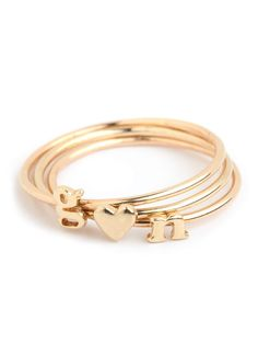Tiny Gold Heart & Letter Ring by baublebar #Dainty_Rings #Ring #Heart