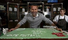 Ryan Giggs with a 40th birthday cake at his new restaurant, Cafe Football, at Westfield Stratford City. Photograph: Jan Kruger/Getty Images ...