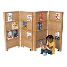 Gives me some DIY ideas ... Discount School Supply - 4 Section Double-Sided Mobile Library Bookcase