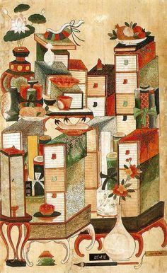 책가도 [Scholar's Accoutrements, 冊架圖] Joseon Dynasty, 19th Century] Paintings  Books and Scholar's Utensils
