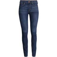 H&M Skinny High Jeans ($19) ❤ liked on Polyvore featuring jeans, pants, calças, bottoms, denim, skinny fit jeans, blue skinny jeans, slim fit jeans, high-waisted jeans and high rise skinny jeans