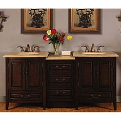 Silkroad Exclusive 72-inch Stone Counter Top Bathroom Vanity Lavatory Double Sink LED Cabinet