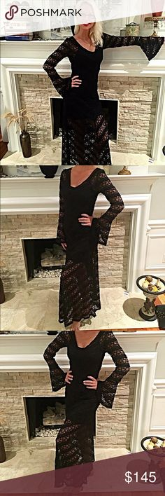 Stunning MinkPink NWT lace dress! Full lace with slimming slip included v neck bell sleeves- detailed gorgeous lace - sorry to see go- purchased to judge a pageant and couldn't make it!! Gorgeous piece! MINKPINK Dresses Maxi