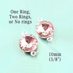 """Pink glass beads, rhinestone earrings or glass connectors are 10mm round (about 3/8"""") - $2.59/pr in silver or brass settings"""