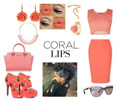 """is Coral lips photo shoot ready or not"" by misslewis97 ❤ liked on Polyvore featuring beauty, BCBGMAXAZRIA, Elizabeth and James, Qupid, MICHAEL Michael Kors, Arme De L'Amour, Lane Bryant, Ross-Simons and Christian Dior"