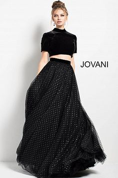 Jovani's Fall 2017 fashion collection including evening dresses, ball gowns, prom dresses and more formal wear for any special occasion. Indian Gowns Dresses, Indian Fashion Dresses, Dress Indian Style, Indian Designer Outfits, Prom Dresses, Fashion Outfits, Two Piece Evening Dresses, Two Piece Gown, Black One Piece Dress